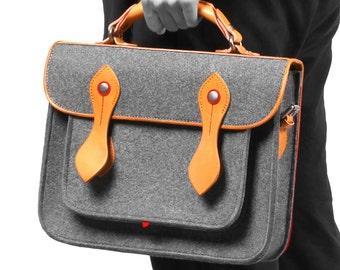 """Backpack 13""""Macbook Case Macbook Sleeve Tablet Bag with Genuine Leather Handle Briefcase Style Wool Felt  Bag for Macbook Air 13"""""""