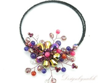 Flower purple and pink Choker
