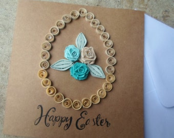 Easter card Happy Easter quilled card Spring Roses Easter Greeting card Easter egg Paper art