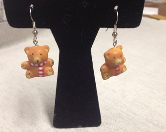 Vintage Teddy Bear with Scarf Earrings