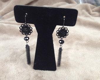 Vintage Black Floral Dangle Earrings