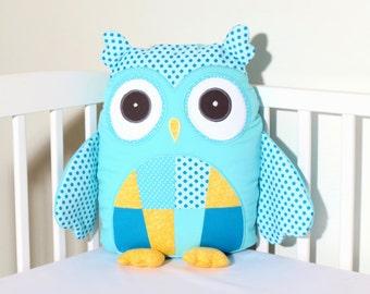 Stuffed Owl, Modern Custom Owl Pillow Case and Cushion, Plush Owl Toy, Aqua Yellow