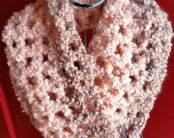 Coral and Taupe Cowl Scarf
