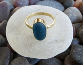 Size 6.5, 18k Gold, Dark Turquoise Sea Glass Ring