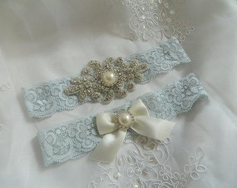 Crystal pearl Wedding Garter Set, Stretch Lace Garter, Rhinestone Crystal Bridal Garters