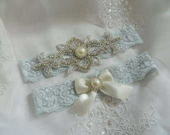 Blue Lace Garter, Something Blue Garter, Bridal garter, Wedding garter, Garter
