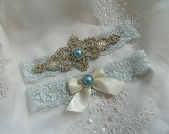 Wedding Garter-Vintage Garter set- Light Blue Stretch Lace with pearl and rhinestone applique