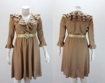 XL Vintage Dress Cross Over Bust with Tiered Ruffled Collar
