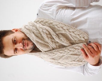 Extra Long Beige/ Grey Wool Mens Scarf. Handmade Chunky Scarf. Cable Knit Soft Mens Scarves. Present For Him. Accessories. Christmas gift.