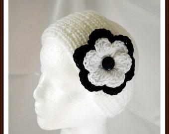 Knit White Headband/Crochet Flower/Knit Ear Warmer