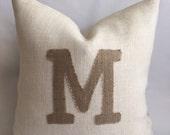 Natural Burlap Initial On White Burlap with Natural Burlap Back Pillow Cover