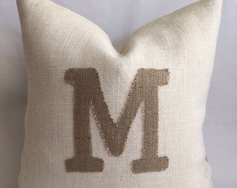 Natural Burlap Initial On White Burlap with Natural Burlap Back Pillow Cover