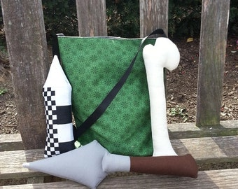 Plush Archaeology Tote with a Green Print Bag