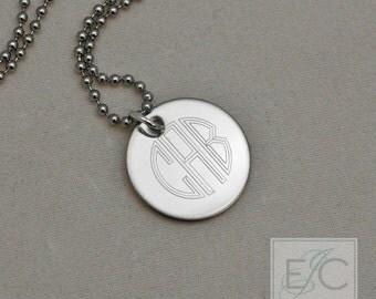"circle monogram engraved necklace, .625"" pendant"