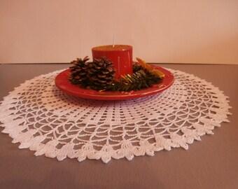 White Crochet Doily, Round Crochet Doily, Crocheted Doily, Crochet Doilies, Lace Doily, Vintage Doily, Table Centerpiece