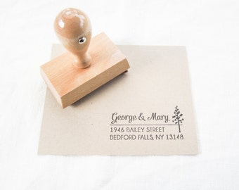 Custom Address Stamp -  return address stamp - address stamp - personalized - typeset address stamp - Pine Tree - A0014