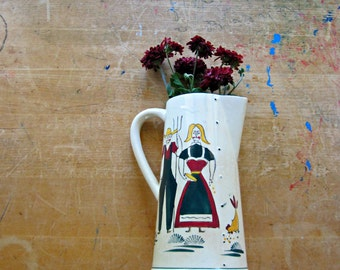 American Gothic Pitcher, Country Pitcher, Vintage Stoneware Pitcher, Folk Art Pitcher, Ceramic Pitcher, Pennsylvania  Dutch, Farmhouse Decor