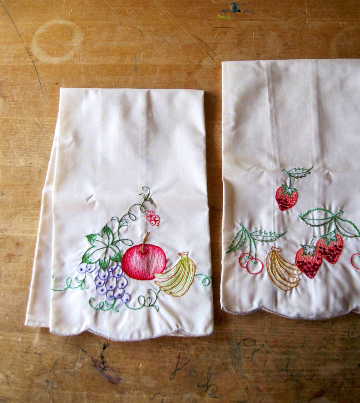 Vintage Embroidered Tea Towels Fruit Motif By RushCreekVintage