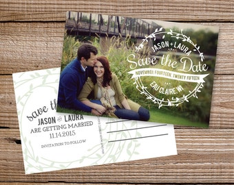 Save the Date Postcard with Photo Vintage Wreath - Printable or Printed