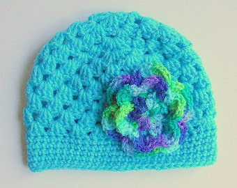 18 Months Infant  Girl Aqua Hat 9 Months To 2 Years Old Toddler Beanie With  Flower Turquoise Baby  Winter  Cap Fall Cloche