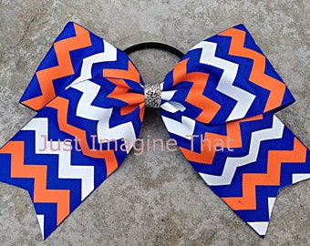 "2.25"" x 6"" x 6"" Cheer Bow Royal Blue, Orange and White Chevron Sports Bow"