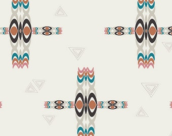 SAVE on 2.9 yd. bolt end--ETNO--Pat Bravo---Rhythmic Totems Sienna--Art Gallery Fabrics
