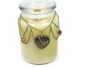 Candle Embellishment, Glass Jar Necklace, Candle Decoration, Leopard Print, Vintage Inspired Home Decor