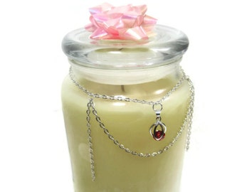 Candle Embellishment - Glass Jar Necklace - Candle Decoration - Repurposed Home Decor