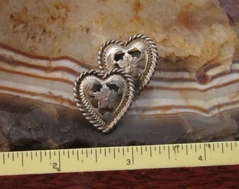 Sterling Silver Collar Tips Heart-shaped Hand Engraved w/ Rope Edge Cowgirl Bling