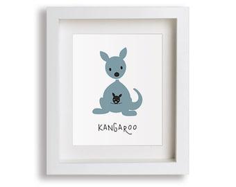 NEW Kangaroo Nursery Art Print - Children's Decor, Baby's Nursery, Australian Animals, Kids Wall Art, Playroom, Outback, Toddler Room