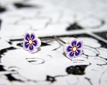 Tiny Polymer Clay Purple Flower Earrings - Perfect for kawaii lovers & flower fans!