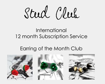 International Stud Club Subscription (outside the UK) - Earring of the Month Club (12 mths) Saving 40% off RRP :) Sent as ONE single parcel
