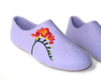 Organic Wool Felted Slippers-Eco Friendly Clothing-Natural Wool Slippers-Organic Clothing-Organic-Women Clothing-Natural Wool Felt Slippers