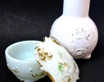Vintage Victorian Milk Glass Carafe/Vase and Lidded Trinket Jar with Embossed Scroll, Set