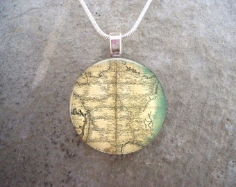 Map Jewelry - Glass Pendant Necklace - Map 4 - RETIRING 2017