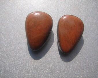 DTR Orange Jasper Sterling Clip On Earrings 766.
