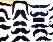 20 Mustache - Moustache - Cut Outs - Die Cuts - Photo Props - Party Decorations - Garlands - Party Straws - Photo Booths