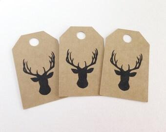 Kraft Deer Head Favor Tags -  Hang Tags, Gift Tags, Die Cuts -  2.0X1.25 inch - Birthday, Wedding, Baby Shower, Rustic Wedding