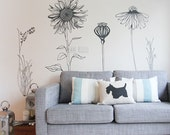 Large decorative vinyl flower wall sticker decals. (PACK 2)