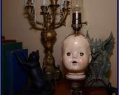 Horror/Goth doll head lamp