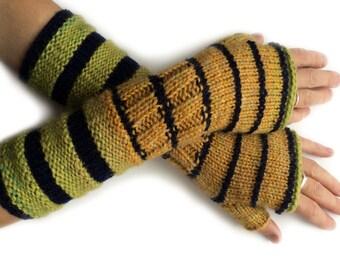 Yellow striped wrist warmers, fingerless mittens, fingerless gloves, arm warmers, yellow fingerless