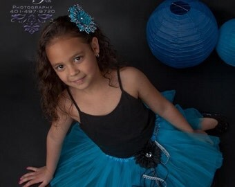 Teal Flower And Beaded Tutu