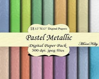 "Instant Download - Digital Scrapbook Paper Pack - Pastel Metallic - MK44 - 18 12""x12"" Digital Papers - Collage Sheets - Scrapbooking, Paper"