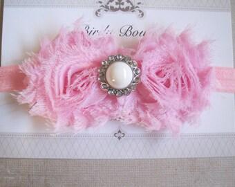 Light Pink Floral Baby Headband, Infant Bow, Baby Girl Bow, Baby Headbands, Infant Headbands, Baby Girl Headbands