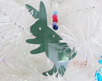 Rabbit Otomi Mexican plexiglass and pom pom Christmas ornament