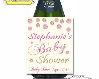 Baby Shower Labels Sparkling Cider Glitter Pink and Gold Pregnancy Announcement  Labels - Custom (Personalized) Chalkboard Set of 6