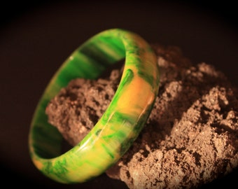 Wide Bakelite Bracelet - Marbled Green and Yellow Bangle