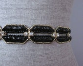Black & Gold Chain Link Art Deco beaded Wedding Sash / Belt, Rhinestone Sash