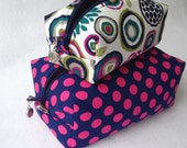 Box Bags, Pink Polka Dots, Cosmetic Bag Two Piece Set,