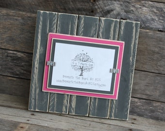 Picture Frame - Distressed Wood - Vertical Boards - Holds a 5x7 Photo - Gray & Hot Pink